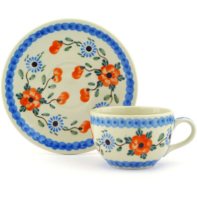 Polish Pottery Cup with Saucer 4 oz Cherry Blossoms