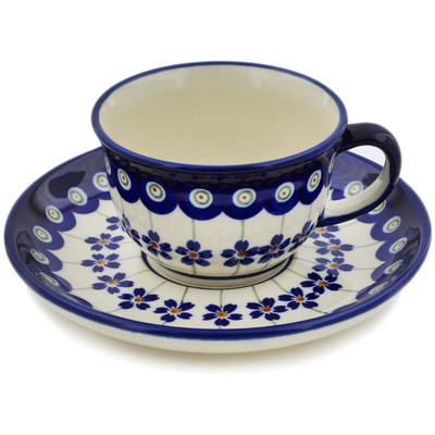 Polish Pottery Cup with Saucer 5 oz Flowering Peacock