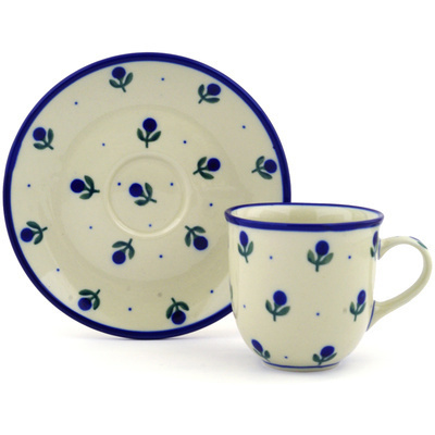 Polish Pottery Cup with Saucer 7 oz Blue Buds