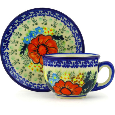 Polish Pottery Cup with Saucer 7 oz Bold Poppies UNIKAT