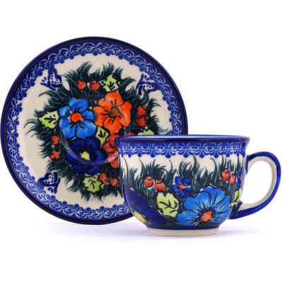 Polish Pottery Cup with Saucer 7 oz Butterfly Splendor UNIKAT