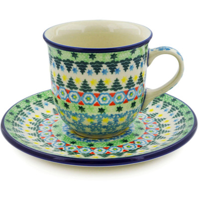 Polish Pottery Cup with Saucer 7 oz Christmas Forest UNIKAT