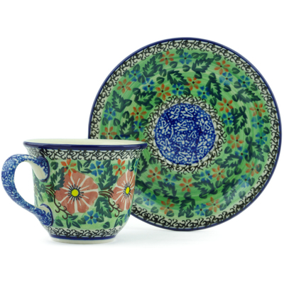 Polish Pottery Cup with Saucer 7 oz Cosmos Garden UNIKAT