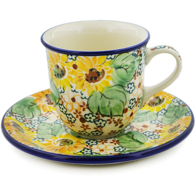 Polish Pottery Cup with Saucer 7 oz Country Sunflower UNIKAT