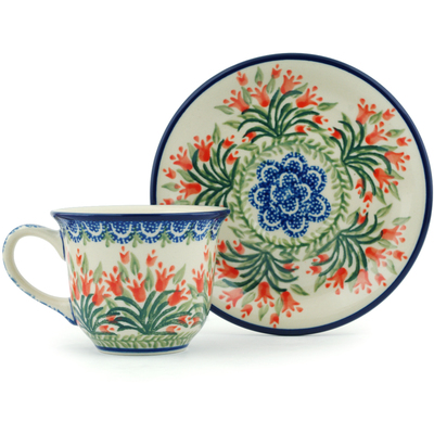 Polish Pottery Cup with Saucer 7 oz Crimson Bells