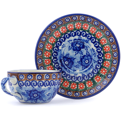 Polish Pottery Cup with Saucer 7 oz Dancing Blue Poppies UNIKAT