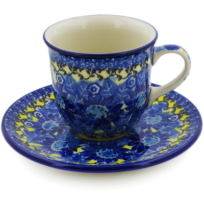 Polish Pottery Cup with Saucer 7 oz Deep Blue UNIKAT