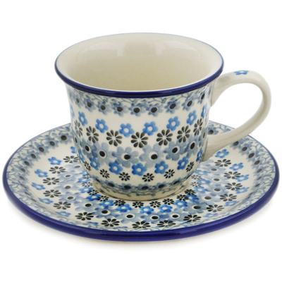 Polish Pottery Cup with Saucer 7 oz Delicate Blue Composition