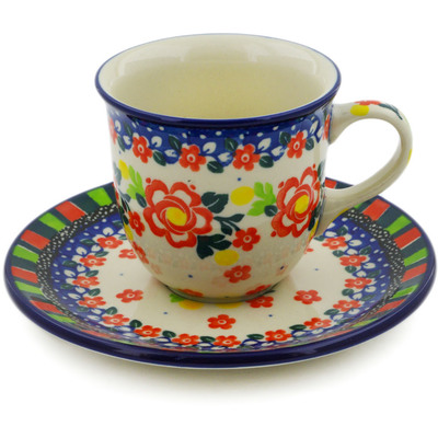 Polish Pottery Cup with Saucer 7 oz Floral Puzzles UNIKAT