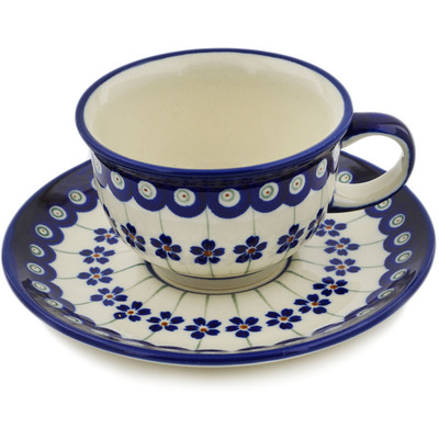 Polish Pottery Cup with Saucer 7 oz Flowering Peacock