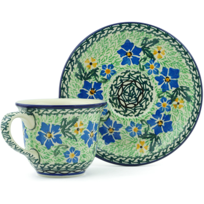 Polish Pottery Cup with Saucer 7 oz Glorious Green UNIKAT