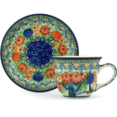 Polish Pottery Cup with Saucer 7 oz Hummingbird Bouquet UNIKAT
