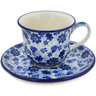 Polish Pottery Cup with Saucer 7 oz Misty Dragonfly