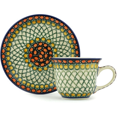 Polish Pottery Cup with Saucer 7 oz Orange Tranquility UNIKAT