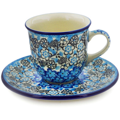 Polish Pottery Cup with Saucer 7 oz Out Of Blue UNIKAT