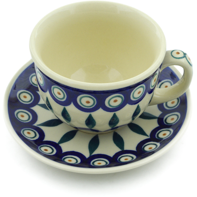 Polish Pottery Cup with Saucer 7 oz Peacock