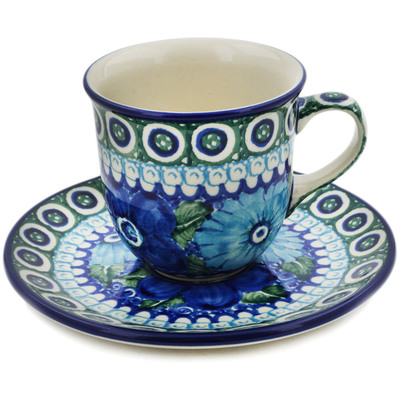 Polish Pottery Cup with Saucer 7 oz Powder Puff UNIKAT