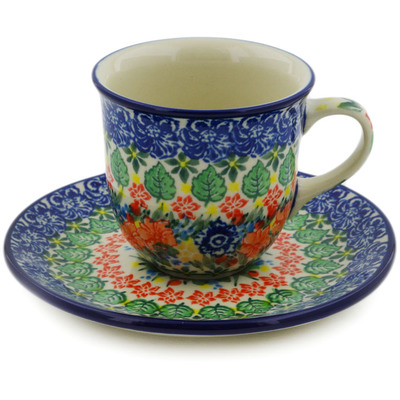 Polish Pottery Cup with Saucer 7 oz Red Bouquet UNIKAT