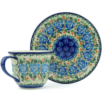 Polish Pottery Cup with Saucer 7 oz Sky Blue Cabbage UNIKAT