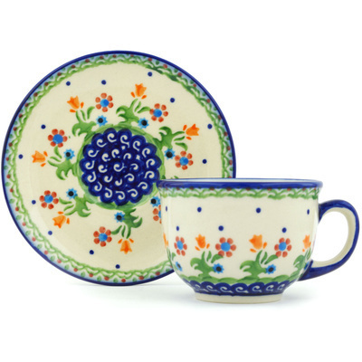 Polish Pottery Cup with Saucer 7 oz Spring Flowers