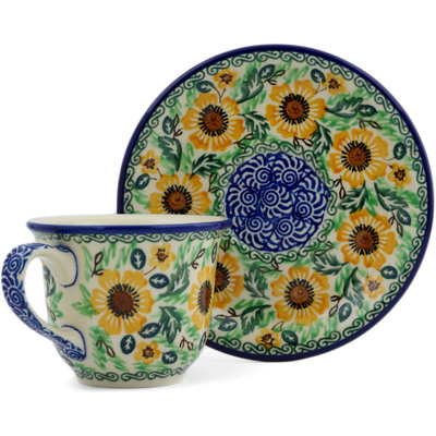 Polish Pottery Cup with Saucer 7 oz Sunflower Spring UNIKAT