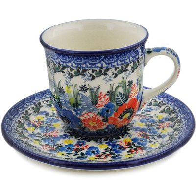 Polish Pottery Cup with Saucer 7 oz Touch Of Beauty UNIKAT
