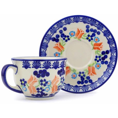 Polish Pottery Cup with Saucer 7 oz Tulip Berries
