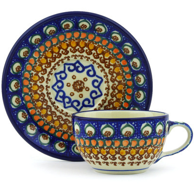 Polish Pottery Cup with Saucer 7 oz Western Peacock UNIKAT