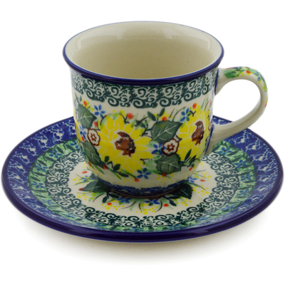 Polish Pottery Cup with Saucer 7 oz Yellow Garden UNIKAT