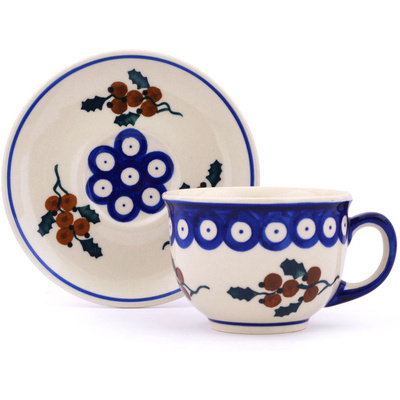 Polish Pottery Cup with Saucer 7 oz Yellow Holly Berries