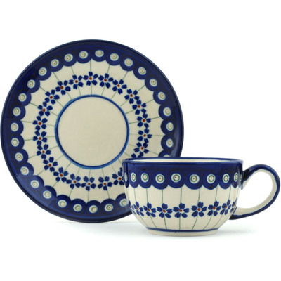 Polish Pottery Cup with Saucer 8 oz Flowering Peacock