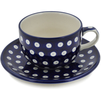 Polish Pottery Cup with Saucer 9 oz Blue Eyes
