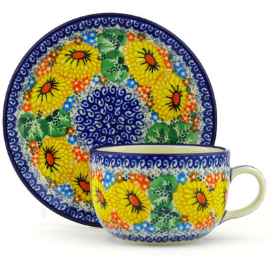 Polish Pottery Cup with Saucer 9 oz Enchanted Spring UNIKAT