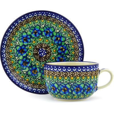 Polish Pottery Cup with Saucer 9 oz Mardi Gra UNIKAT