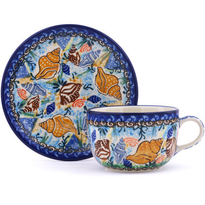 Polish Pottery Cup with Saucer 9 oz Ocean Whisper UNIKAT