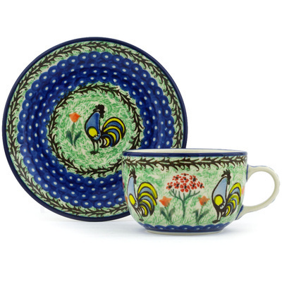 Polish Pottery Cup with Saucer 9 oz Rooster Dance UNIKAT