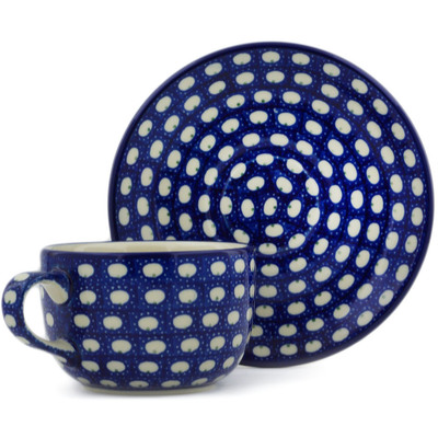 Polish Pottery Cup with Saucer 9 oz Stepping Stones