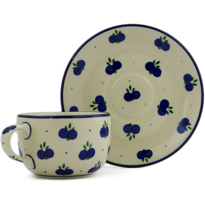 Polish Pottery Cup with Saucer 9 oz Wild Blueberry