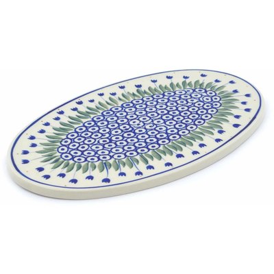 "Polish Pottery Cutting Board 10"" Blue Tulip Circle"