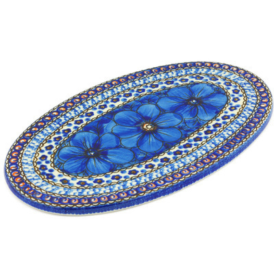 "Polish Pottery Cutting Board 10"" Cobalt Poppies UNIKAT"