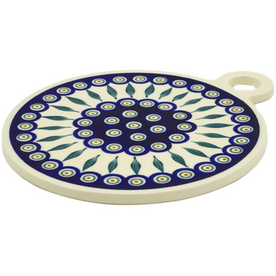 "Polish Pottery Cutting Board 11"" Peacock Leaves"