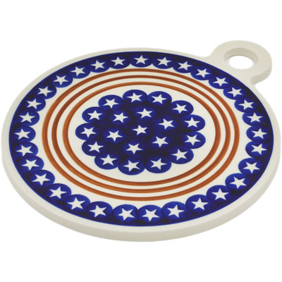 "Polish Pottery Cutting Board 11"" Stars And Stripes Forever"