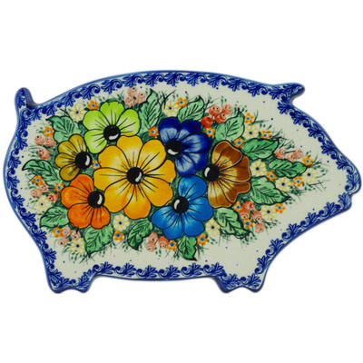 "Polish Pottery Cutting Board 11"" Summertime Blues UNIKAT"
