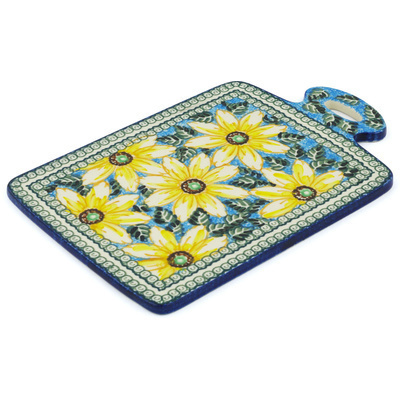 "Polish Pottery Cutting Board 12"" Black Eyed Susan UNIKAT"