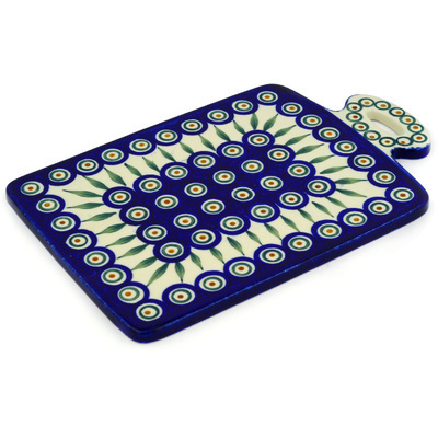 "Polish Pottery Cutting Board 12"" Peacock Leaves"
