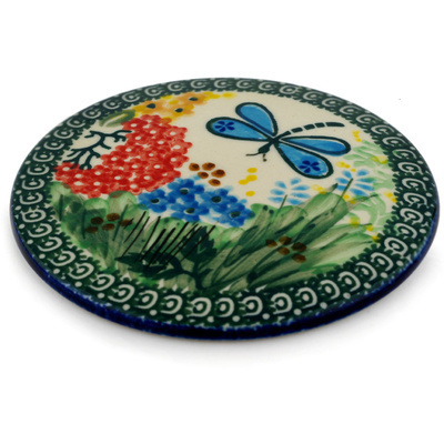 "Polish Pottery Cutting Board 5"" Garden Delight UNIKAT"