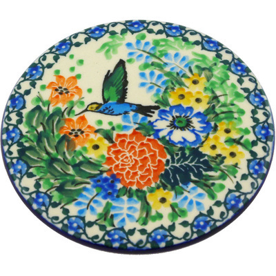 "Polish Pottery Cutting Board 5"" Hummingbird Meadow UNIKAT"