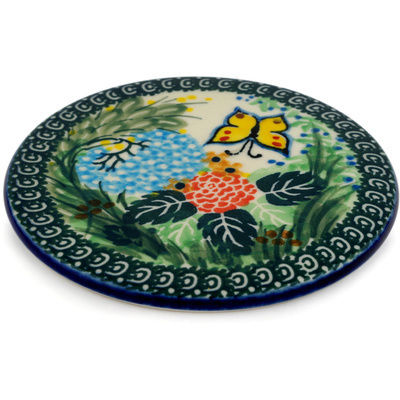 "Polish Pottery Cutting Board 5"" Spring Garden UNIKAT"