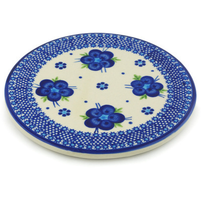 "Polish Pottery Cutting Board 7"" Bleu-belle Fleur"
