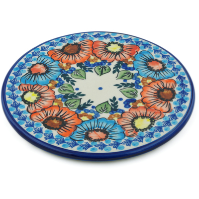 "Polish Pottery Cutting Board 7"" Bold Poppies UNIKAT"